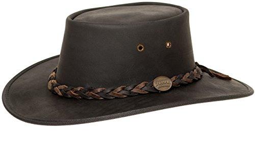 Barmah Hats Barmah 1022 Squashy Bronco Two Tone Lederhut aus Australien + Kinnriemchen | Schwarz/Black | Size XXL