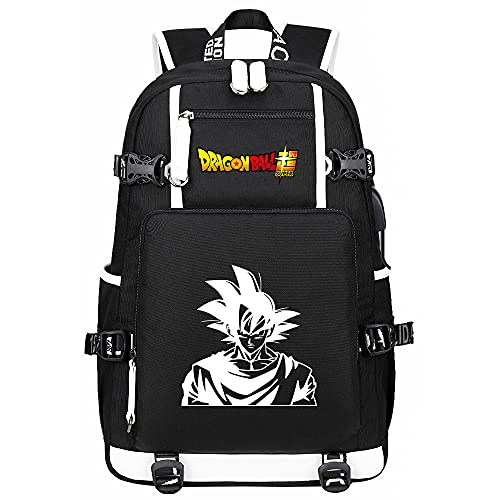 Mochila con Estampado De Anime Dragon Ball Mochilas Escolares Mochila para Portátil con Carga USB Mochila De Viaje Negro