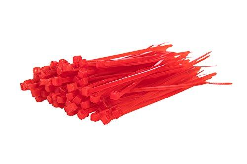 100Kabelbinder, farbig –100mm x 2,5mm, Premiumqualität, starke Nylonbinder von Gocableties, rot
