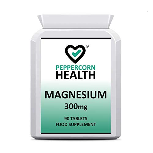 Magnesium 300mg, 90 Tablets, Food Supplement, Suitable for Vegetarians and Vegans, Peppercorn Health