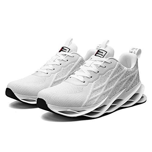 Zapatillas de Running para Hombre Casual Tenis Zapatos Deporte Fitness Gym Correr Gimnasio Deportives Transpirables Seguridad Atlético Trekking Sneakers White 44