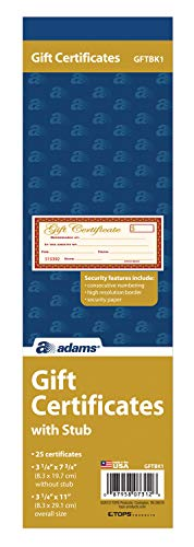 Adams 1-Part Gift Certificates with Stub, 3-1/4