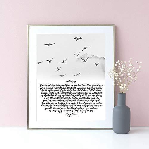 GUDOJK wandschilderij Gedicht Wildgangschilderij Druktint Vogels Aquarel Art Canvas afbeelding Boerhuis muurkunst Decor Poster 70x100cm(28x40inch)