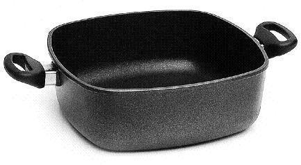 Lotus Gusspfanne - Quadratkasserolle 29cm 6Ltr, Bodenmaß 22cm, Höhe 10,5cm, Deckelmaß 29cm