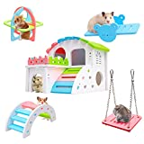 Hamster Toys Set - Hamster Hideout, DIY Wooden Hamster House, Cage Accessories, Seesaw, Sport Exercise Toys, Rainbow Bridge, Swing, Suitable for Small Animals Like Dwarf Hamster and Syrian Hamster