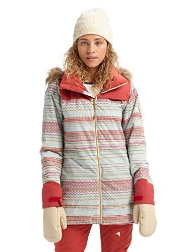 Burton Womens Lelah Jacket, Aqua Gray Revel Stripe/Tandori, XX-Small