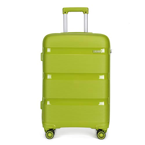 Kono 55x40x21cm Cabin Hand Luggage Hard Shell Travel Trolley 4 Spinner Wheels Lightweight Polypropylene Carry On Suitcase with TSA Lock 40L (Green)