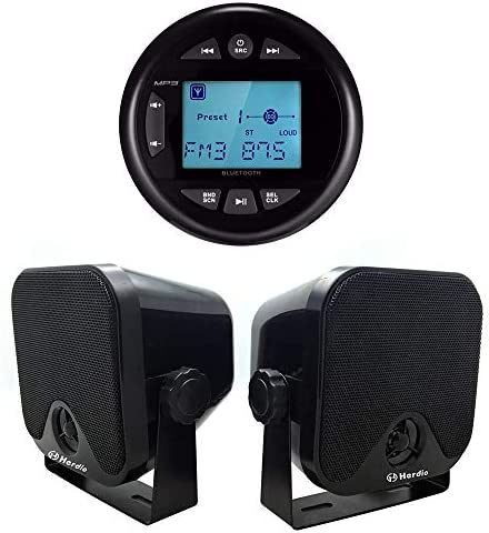 Herdio 4 Inches Mp3 USB AM FM Compatible Weather Proof Marine UTV Gauge Bluetooth Stereo Radio product image