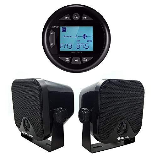 Herdio 4 Inches Mp3 USB AM FM Compatible Weather-Proof Marine & UTV Gauge Bluetooth Stereo Radio + 4 Inches Marine Surface Mount Box Speakers(Black)