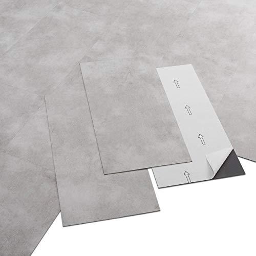 ARTENS - PVC Bodenbelag - Selbstklebende Fliesen - Betoneffekt - Hellgrau - 2.23m² / 12 Fliesen