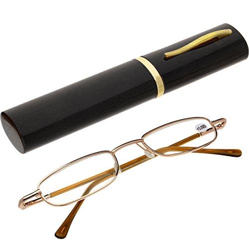 Oramics Lesebrille für Herren und Damen inklusive Brillenetui – Lesehilfe in verschiedenen Dioptrien Stärken – Unisex Sehhilfe mit Feder Etui (3.0 Dioptrien)