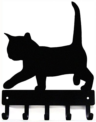The Metal Peddler Cat #2 Kitten Key Rack Hanger - Small 6 inch Wide - Made in USA