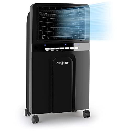 oneConcept Baltic – Enfriador de aire 3 en 1, ventilador, humidificador y enfriador de aire, 65 W, caudal de 360 m³/h, depósito de 6 litros, 2 acumuladores de frío, oscilación horizontal, ébano