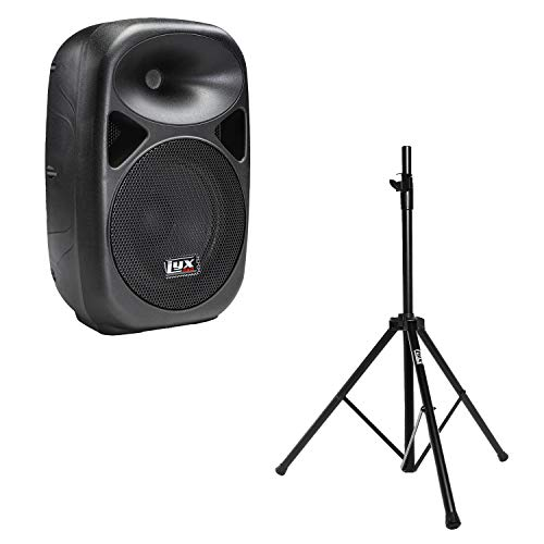 "LyxPro SPA-10 10"" Portable PA Speaker System With Metal Tripod Stand Combo Kit Power Active Amplifier Equalizer Bluetooth SD Slot USB MP3 XLR 1/4"" 1/8"" 3.5mm Inputs Remote Control"