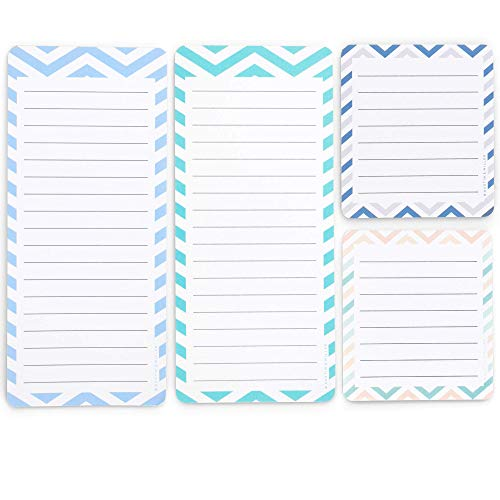 Magnetic Notepads in Large and Small Sizes for Fridge (4 Pack); Grocery Shopping List Pad, To-Do List, Reminders, Memo and Scratch Pad - Cute Modern Designs | Full Magnet Back | 50 Sheets per Note Pad