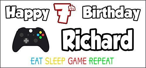 Banner personalizado para el 7º cumpleaños de Xbox Temed Happy 7th Birthday - Póster - Decoraciones de fiesta - Niños - Niñas - Hijo - Nieto - Nieto - Marido - Papá (paquete de 2)
