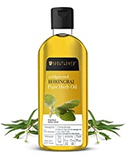 Soulflower Bhringraj Hair Oil with Real Mother Herbs, For Hairfall Control, Adds Shine & Volume to Hair, Controls Premature Greying, 200ml / 6.77 Fl.Oz, Bonus Nozzle