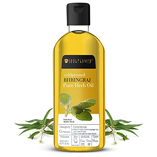 Soulflower Bhringraj Hair Oil for Hair Growth, Controls Hair fall and Premature Greying - Organic, 100% Pure Herb Oil, Natural Cold Pressed, 6.77 fl oz Bonus Nozzle