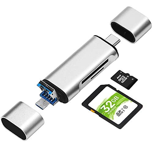 Lettore di Schede di Memoria SD Micro SD, BorlterClamp Memory Card Reader 3 in 1 con Adattatore USB C Micro-USB Compatibile con Computer, MacBook, Smartphone e Altri