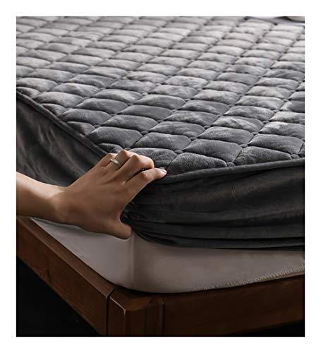 XZ15 Traje de Tres Piezas Hojas de Colcha Funda de Almohada Espesan Estuche Protector de colchón (Color : Gray, Size : 90X190CM/5-15CM)