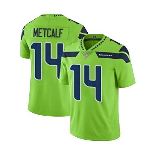 Herren Rugby-Trikot Seattle Seahawks #14 DK Metcalf, Sport-Sweatshirt, Fitness, Freizeitkleidung, schnelltrocknend, American Football, Grün, Größe S (60 ~ 70 kg)