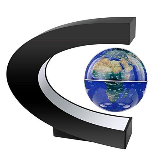 MeetUs kreative Anti Schwerkraft schwebende Kugel C Form Dekoration Magnetschwebebahn Schwimmende Globus Weltkarte mit bunten LED-Licht für Schreibtisch Dekoration, Kinder Geschenke