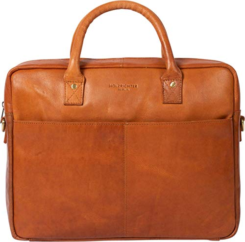HOLZRICHTER Berlin Tragetasche No 1-1 (M) Cognac - Große Briefcase Aktentasche & Laptoptasche handgefertigt aus Premium-Leder
