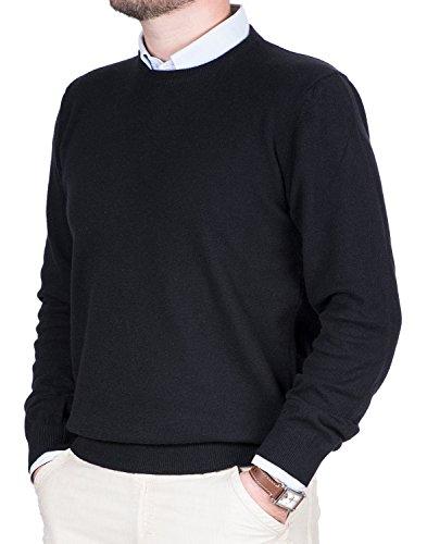 Maglione Uomo Puro Cashmere 100% Lana Pullover A Manica Lunga con Girocollo Soffice E Morbido (50 L, Nero)