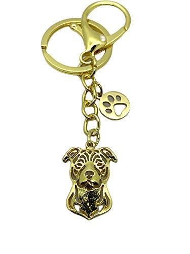 Schlüsselanhänger Taschenanhänger Amstaff American Staffordshire Terrier Edelstahl/vergoldet Hund Haustier Bully