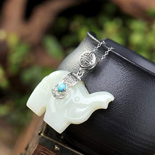 Mayanyan S925 Sterling Silber eingelegter weißer Jade Elefant Anhänger natürliche Jade Halskette Damen Geschenk