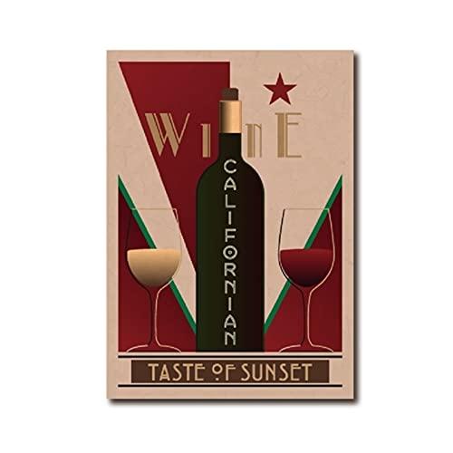 bdkym Póster vintage de vino californiano para decoración de pared, póster de vino, restaurante, cocina, decoración del hogar, lienzo de 40 x 60 cm x 1 sin marco