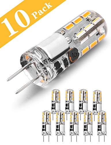 G4 LED Lampen, 1.5W LED Birnen ersetzt 20W Halogenlampen, Warmweiß 12V AC/DC LED Leuchtmittel, 100LM Kein Flackern Nicht Dimmbar 360° Lichtwinkel G4 Licht, Stiftsockellampe Glühbirnen 10er Pack