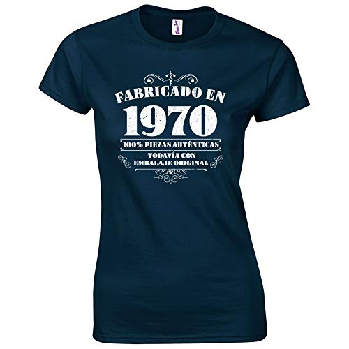 Bang Tidy Clothing Camiseta de Mujer para Regalo de 50 cumpleaños Manufactured 1970 en Azul Marino Talla M