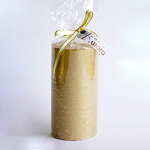 Vela Cera Rugosa Lacado - Dorado, 6.8x 6.8x 13cm - Rituales