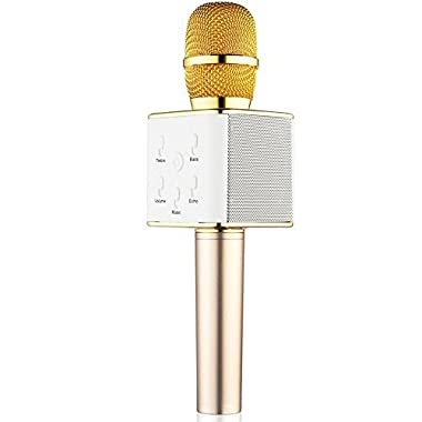 BONAOK Updated Wireless Karaoke Microphone, 3-in-1 Gold Microphone Portable Built-in Bluetooth Speaker Machine for iPhone Apple Android PC and Smartphone