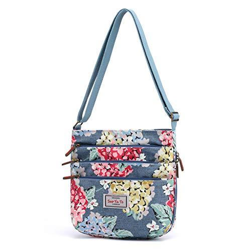 TAMALLU Frauen Groß Reißverschluss Nylon Umhängetasches Umhängetaschen Reise Floral Printed Taschen(Blau)