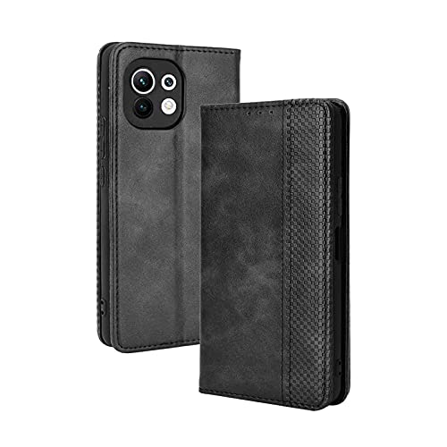 GOKEN Funda para Xiaomi Mi 11 Lite 5G | Mi 11 Lite Funda, Leather Folio Carcasa con Billetera, Magnética Premium PU/TPU Cuero FILP Case Cover con Soporte/Tapa Tarjetas (Negro)