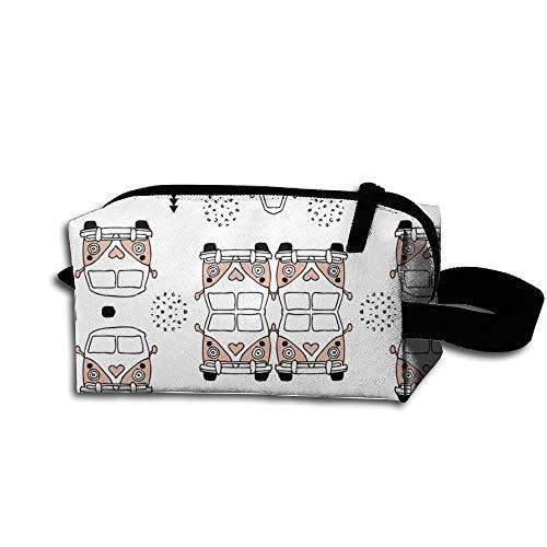 Travel Makeup Happy Camper Hippie Bus Geometric Beautiful Waterproof Cosmetic Bag Quick Makeup Bag...