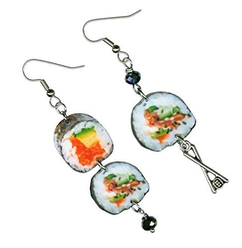 Sushi earrings chopsticks Japanese cuisine chef gift