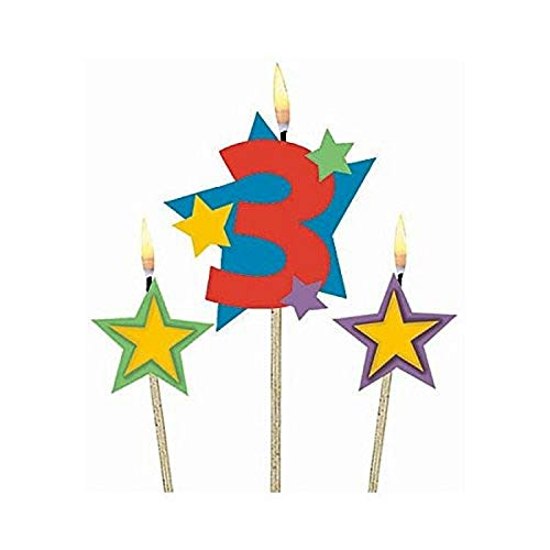 Amscan #3 Decorative Birthday Candle & Star Candles   Party Supply   3 pieces