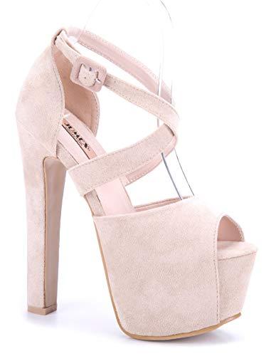 Schuhtempel24 Damen Schuhe Plateausandaletten Sandalen Sandaletten beige Blockabsatz 15 cm High Heels