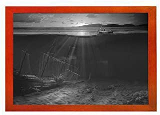 PUPBEAMO Sunken Ship - Art Print Picture Frame Photo Frames Made of Solid Wood For Table Top (Walnut,9x7 Inches)