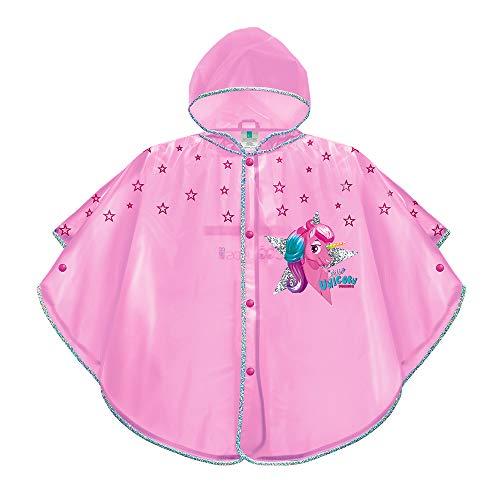 PERLETTI Poncho Impermeable Niña Unicornio - Chubasquero de Lluvia con Capucha y Botones - Rosa Transparente con Estrellas - Ribete Plateado Reflectante de Seguridad - 3-6 Años - EVA Cool Kids