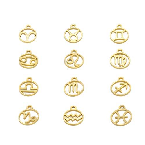 PRETYZOOM Zodiac teken Charms Ram Taurus Gemini Kanker Leo Maagd Weegschaal Schorpioen Boogschutter Steenbok Waterman Vissen Constellaties voor DIY Sieraden Het vinden van 12 stks