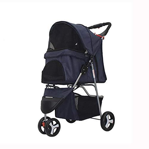 RICA-J 3 Wheels Pet Stroller, Dog Cat Stroller Cage Jogging Stroller Travel Folding Carrier (Dark Blue)