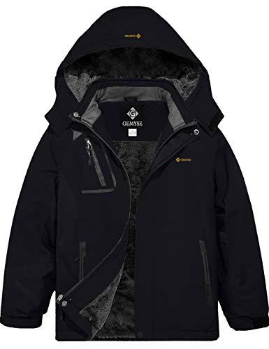 GEMYSE Boy's Waterproof Ski Snow Jacket Fleece Windproof Winter Jacket with Hood (Black,10/12)
