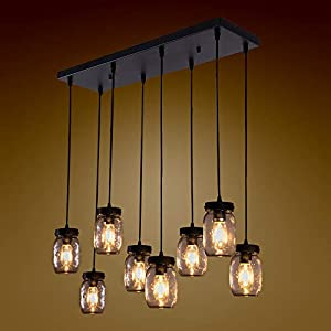 Wellmet 8-Light Mason Jar Chandelier for Kitchen Island, Farmhouse Rustic Linear Cluster Hanging Pendant Light Fixture Dining Room Living Room, Matte Black Finish with Glass Shades