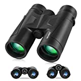 Binoculares 10X42 para adultos, con prisma BAK4, lente FMC, Compactos Profesionales HD Binoculares para observación de aves Viajes estrellas Caza Camping Conciertos Deportes
