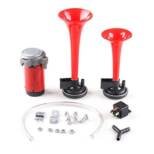 Xuping shop Negro Rojo 12V / 115dB Motocicleta del Coche del Cuerno de Aire Kit de Tren de Doble Trompeta Ultra Fuerte (Color : Red, Voltage : 12V)