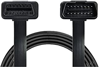 Veepeak OBD2 Extension Cable - Flat Ribbon Cable with Angled Connectors 3.9 Feet 16-pin Pass-Through for All OBD II Vehicles
